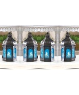 4 Ocean Blue Candle Lanterns Holders Iron and Glass Party Patio Indoor O... - $39.00