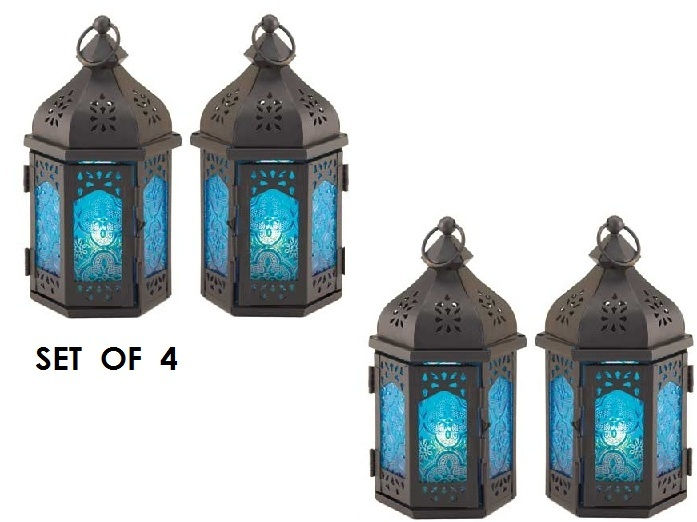 4 Ocean Blue Candle Lanterns Holders Iron and Glass Party Patio ...