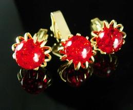 Sexy RED Cuff links set  Dramatic Claw Set gold  Cufflinks Vintage Tie Clip anni - $125.00