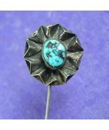 Antique sterling Stickpin Genuine turquoise artisan florette southwester... - $110.00