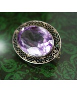 Antique Amethyst Brooch victorian faceted stone... - $95.00