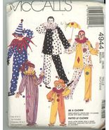 McCalls Pattern 4944 Clown Costume UNCUT Size Adult XSmall  Vintage - $2.00