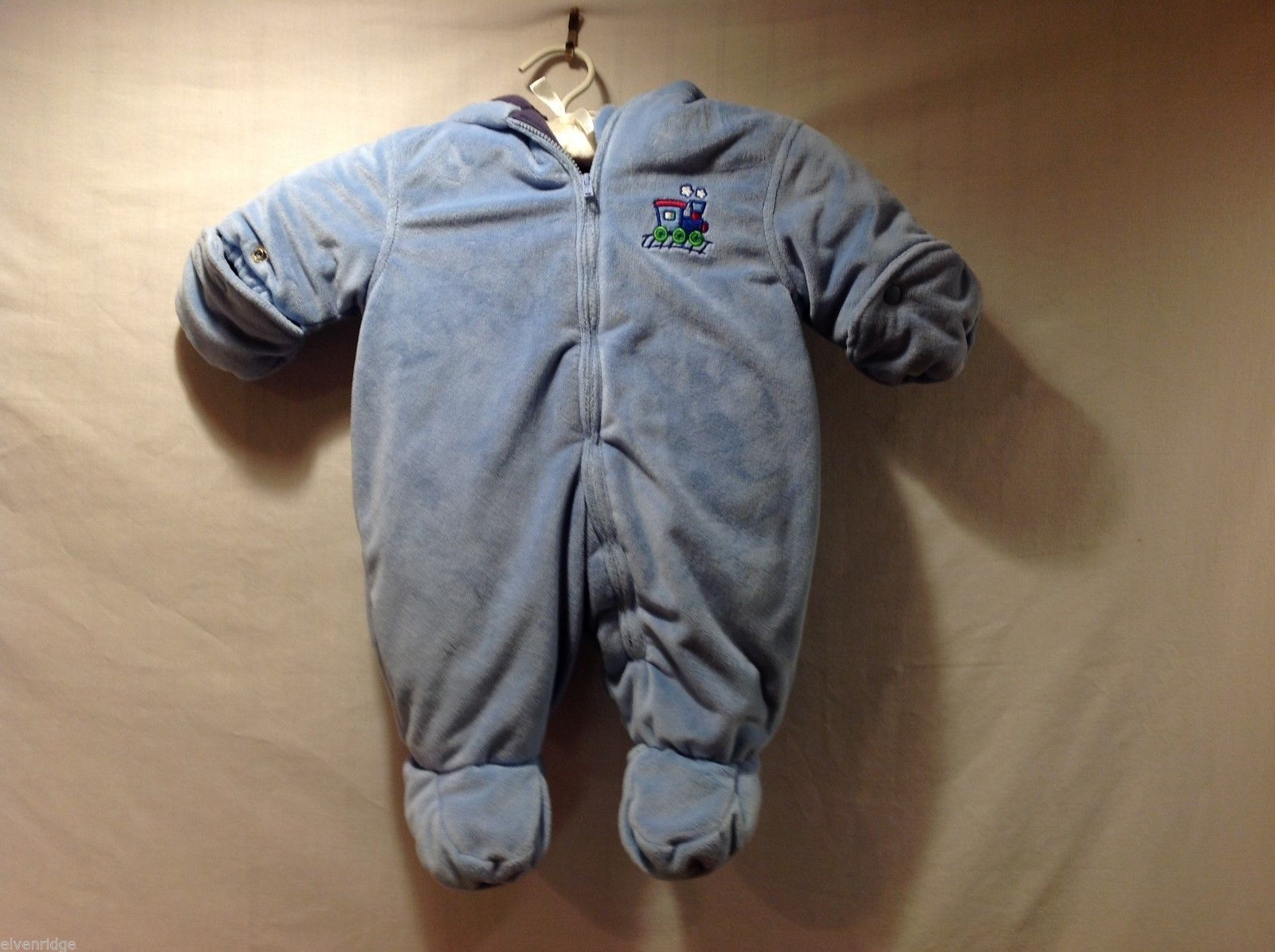 Baby Boy Okie Dokie Blue Choo Choo Train One Piece Snow Suit, 0-3 Months