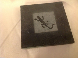 "Made in USA slate tile coasters engraved with gecko lizard  4"" square"