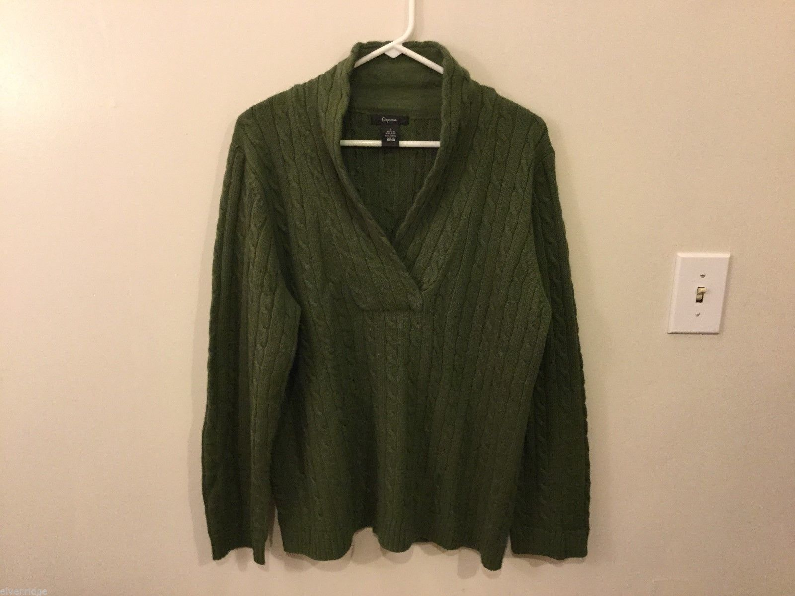Mens Express Olive Green Sweater, Size Large