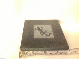 """Made in USA slate tile coasters engraved with gecko lizard  4"""" square image 2"""