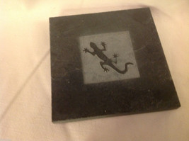"""Made in USA slate tile coasters engraved with gecko lizard  4"""" square image 3"""