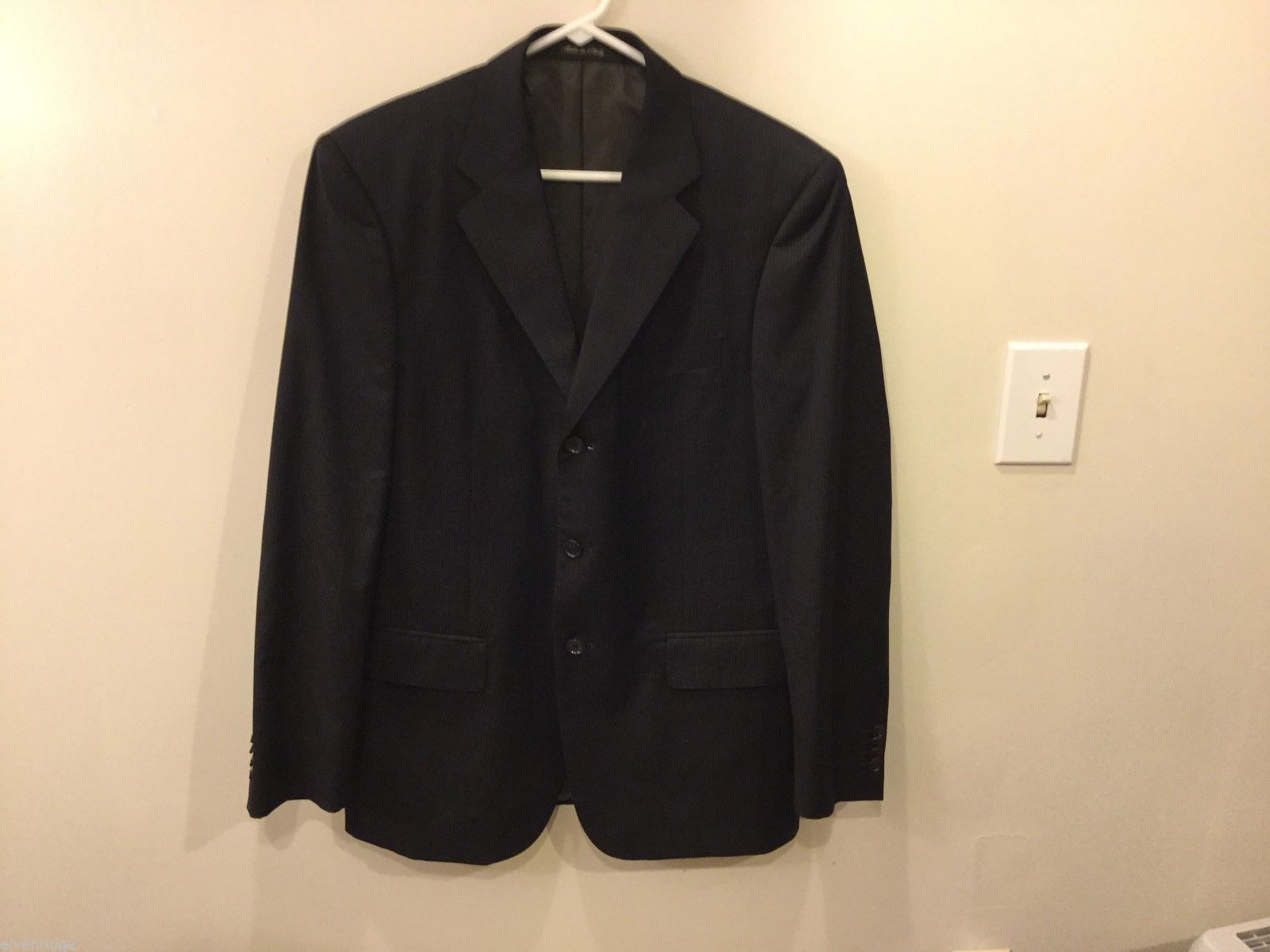 Mens Pinstriped Suit Jacket Made in Italy, See Measurements