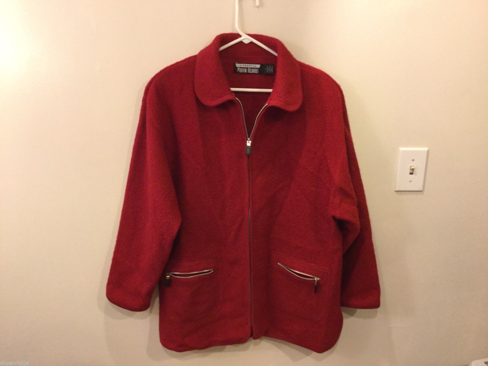 Unisex J. Percy Red Zip Up Jacket, Size Large