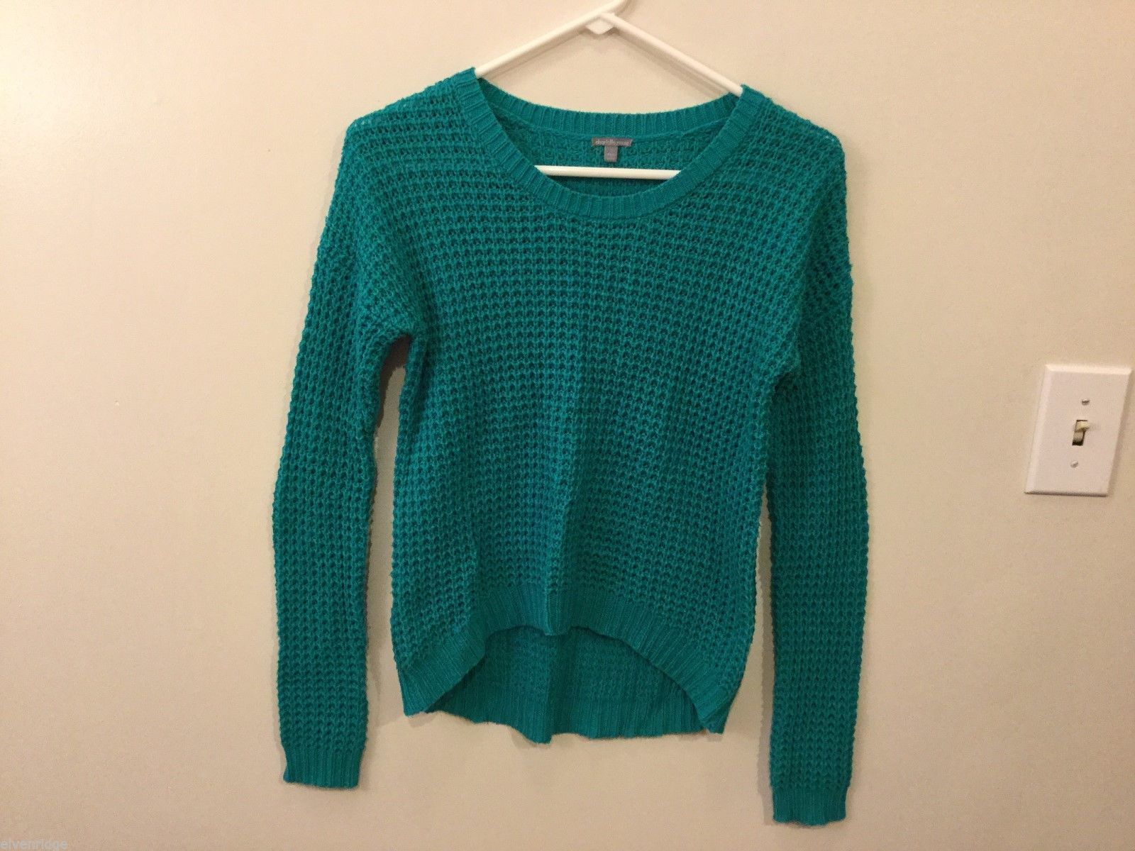 Womens Charlotte Russe Green Knitted Sweater, Size Small