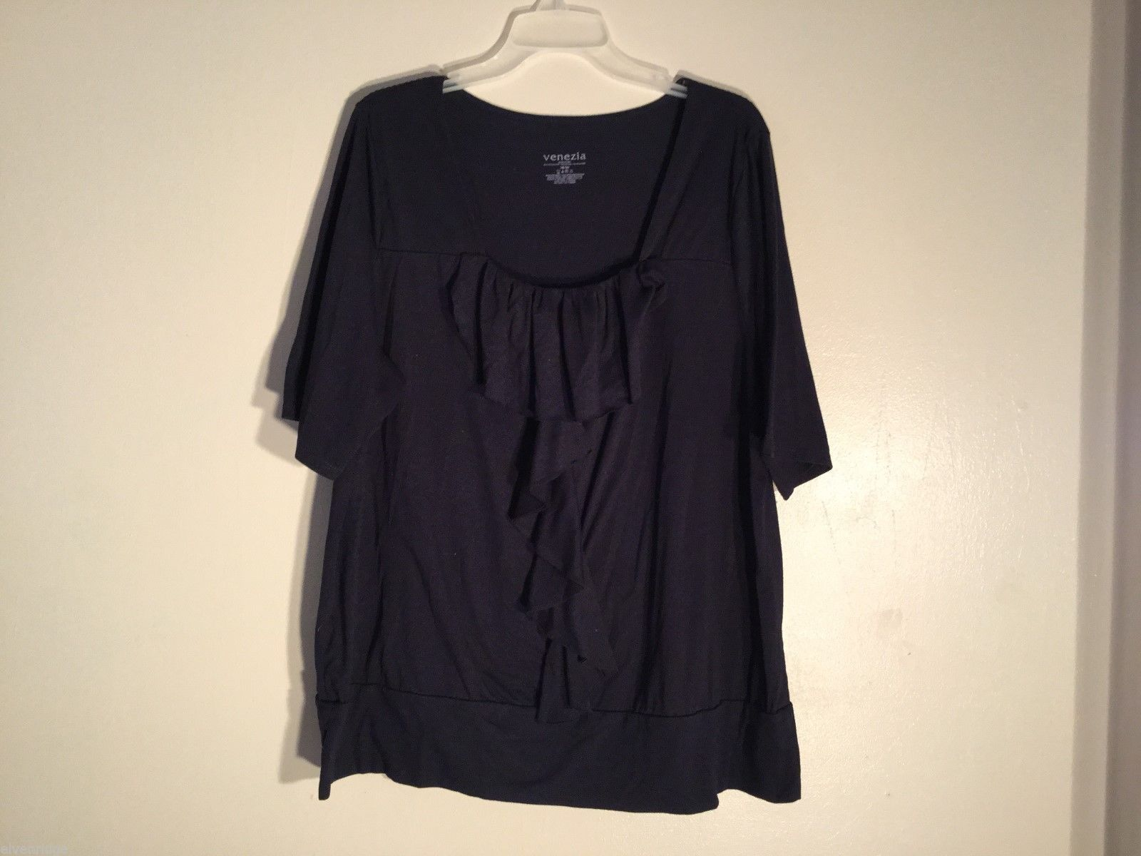Womens Venezia Black Frilly Blouse, Size 18/20