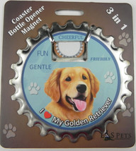 Golden Retriever dog coaster magnet bottle opener Bottle Ninjas magnetic - $9.95