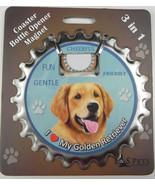 Golden Retriever dog coaster magnet bottle opener Bottle Ninjas magnetic - $9.95