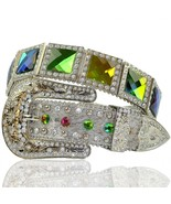 Rhinestone Multi Color Large Stone Western Buck... - $57.99