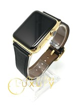 24K Gold Plated 42MM Apple Watch SERIES 2 with Black and Brown Band CUSTOM - $662.59