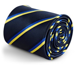 Navy Blue Mens Tie Ukraine Flag Royal Blue & Yellow Gold World Cup Football