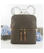 Michael Kors Brown Monogram Luggage Leather Rhea Large Slim Backpack Bag... - $196.52