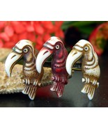 Vintage Toucans Birds Trio Brooch Pin Early Plastic Celluloid Figural - $44.95