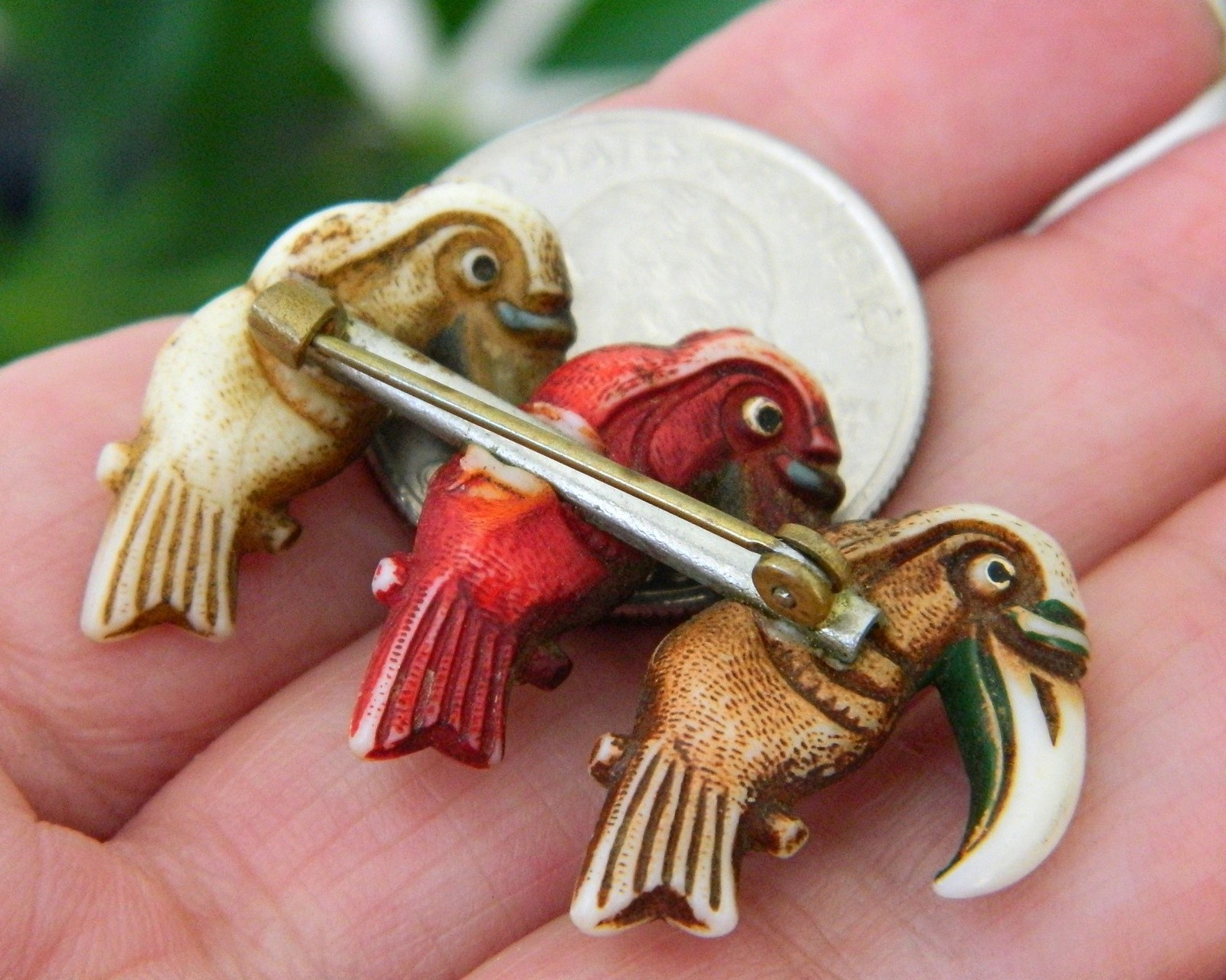 Vintage Toucans Birds Trio Brooch Pin Early Plastic Celluloid Figural