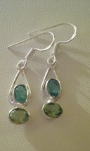 Silver With Crystal Dangle Earrings  - $4.50