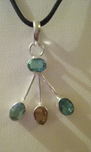 Silver & Multi Crystal Pendant On Cord 5 - $5.99