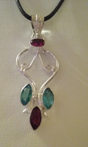 Silver & Multi Crystal Pendant On Cord 7 - $6.99
