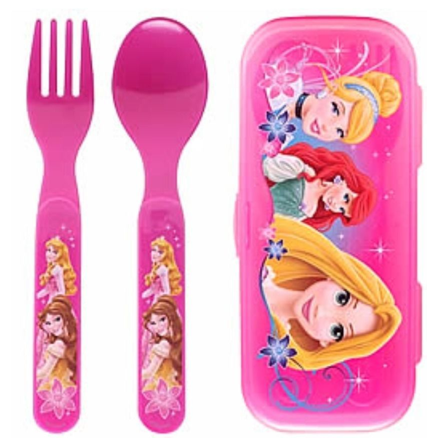 Disney Princess Spoon and Fork Set in Case - New - Perfect for Princess Lunchbox - $9.94