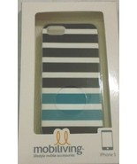Mobiliving iPhone 5 Case / Cover Black/Teal/White Stripe Design - NEW in... - $6.94