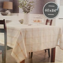 """Threshold Oblong 60"""" X 84"""" Tablecloth Cream Color With Gold Plaid Design New - $17.94"""