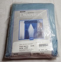 "NOS SEARS Rochester Light Blue 50"" x 84"" Curtain Draperies HEAVY DUTY - $35.59"