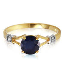 1.02 CTW 14k Solid Yellow Gold Natural Diamonds & Sapphire Ring - $222.90