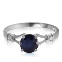 1.02 CTW 14k Solid White Gold Natural Diamonds & Sapphire Ring - $222.90
