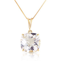 3.6 Carat 14k Solid Yellow Gold Necklace Natural White Topaz Solitaire Pendant - $208.07