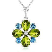 2.43 CTW 14k Solid White Gold Necklace Peridot & Blue Topaz Cluster Pendant - $213.92