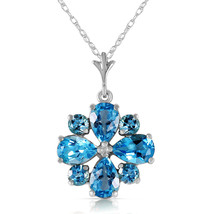 2.43 CTW 14k Solid White Gold Necklace Natural Blue Topaz Star Cluster Pendant - $213.92