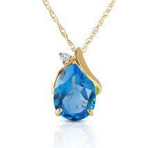 2.53 CTW 14k Solid Yellow Gold Necklace Diamond & Blue Topaz Pendant - $209.29