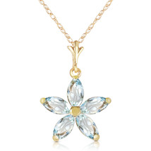 1.4 CTW 14k Solid Yellow Gold Necklace Natural Aquamarine Flower Pendant - $215.04