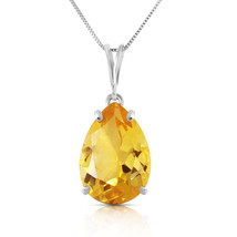 5.0 Carat 14k Solid White Gold Necklace Pear Cut Natural Citrine Pendant - $215.69