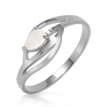 0.15 Carat 14k Solid White Gold Natural Opal Solitaire Ring - $219.74