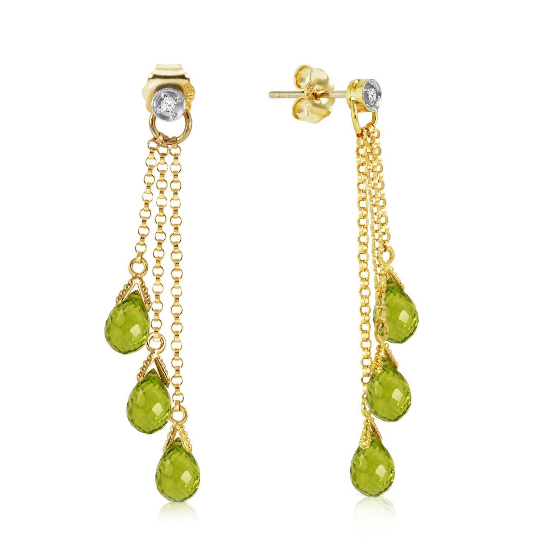 10.53 CTW 14k Solid Rose Gold Chandelier Earrings w/ Diamonds & Peridots - $194.27