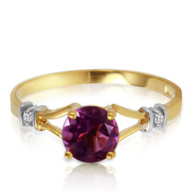 0.92 Carat 14k Yellow Gold Amethyst Diamond Ring - £146.87 GBP