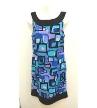 Connected Womens Sz 10 Career Dress Geometric Black Teal Purple Sleevele... - $18.99