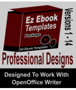 EZ Ebook Template Pack V1-14 Create Ebooks Open Office Writer & Save As ... - $4.75