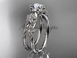 14kt white gold diamond  engagement ring with Moissanite center stone ADLR66 - $1,100.00