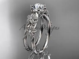 Platinum diamond floral, leaf and vine wedding ring, engagement ring ADLR66 - $1,300.00
