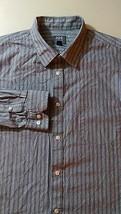 JOE JOSEPH ABBOUD Dress Shirt SIZE XL Gray Blue Stripe Long Sleeve EUC - $21.46 CAD