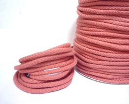 5mm wide Dusty Rose Pink Lt Coral Pink Braided Cotton Cord w/ center str... - $5.99+
