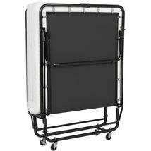 Twin Size Folding Rollaway Guest Bed Cot With Memory Foam Mattress Easy ... - $199.99
