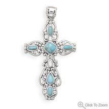 74271 ornate oxidized turquoise cross pendant thumb200