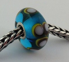 Authentic Trollbeads Ooak Turquoise & White Dot Glass Bead Charm #102,  New - $33.24